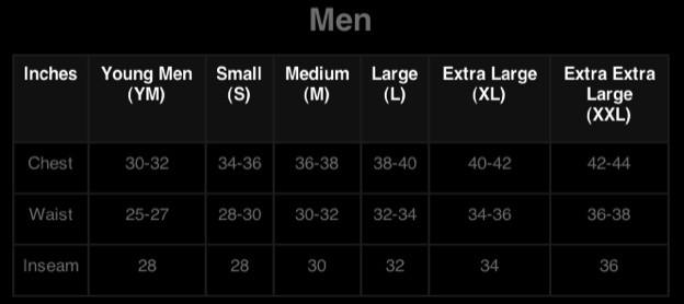 Body Wear Fitting Guide Men